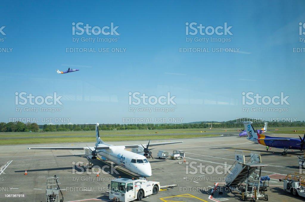 Flybe Aircraft at Edinburgh Airport stock photo