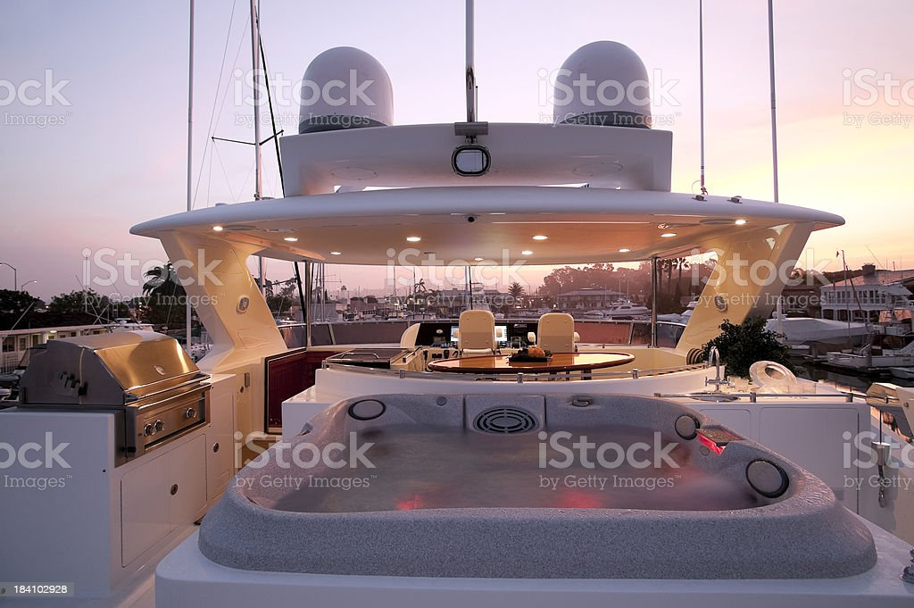 flybridge deck luxury motor yacht stock photo