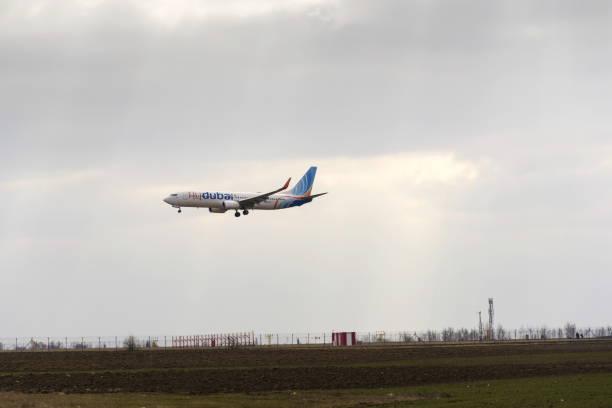 Flydubai airplane landing on Vaclav Havel airport Ruzyne, Czech republic stock photo