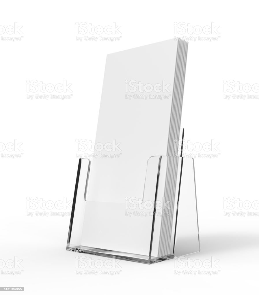 Flyer acrylic glass plastic holder. Flier stand. Brochure holding mock up for the design presentation. Showing leaflet design. stock photo