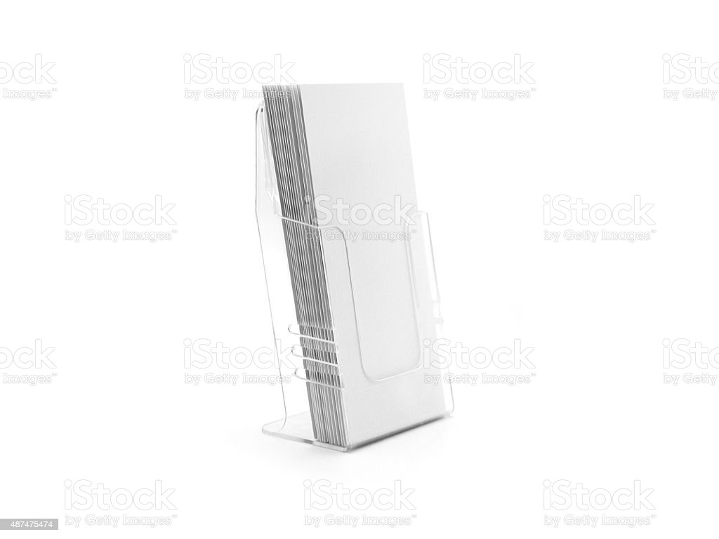 Flyer glass holder. Blank flyers stand. Brochure show presentation. stock photo