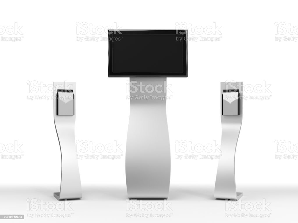 flyer holder stand stock photo