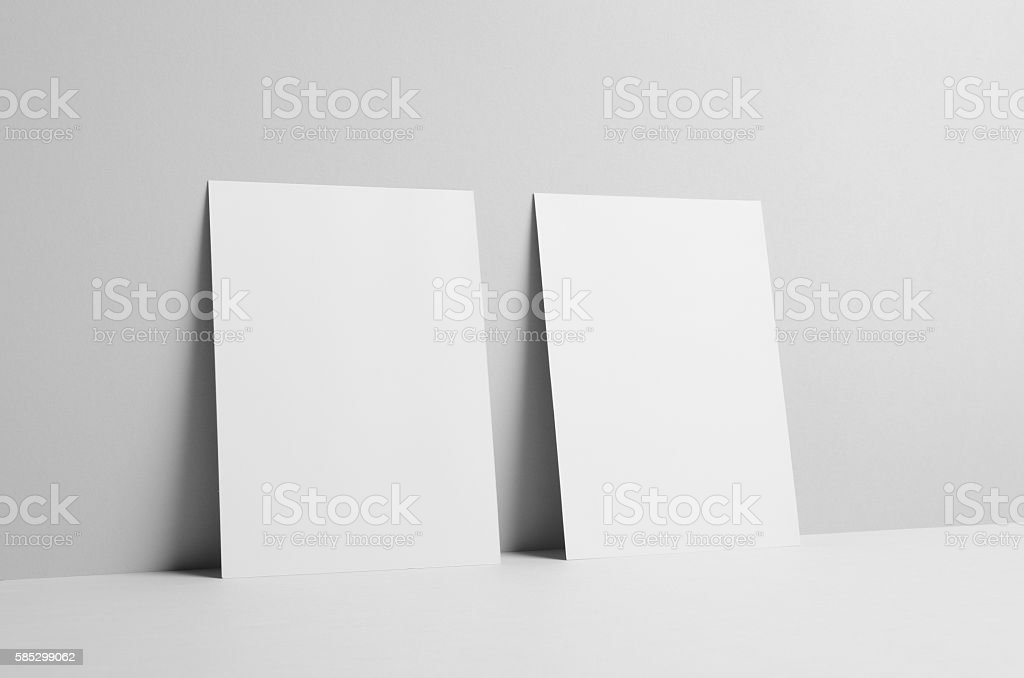 A5 Flyer Mock-Up - Wall Background stock photo