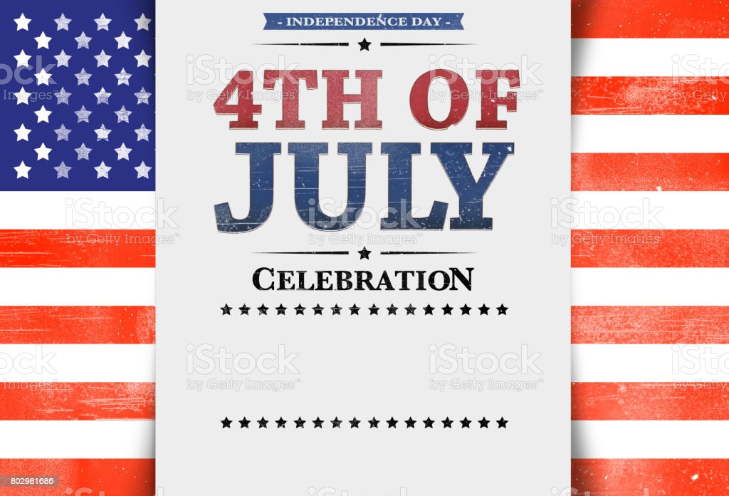 Flyer template, invitation, 4th of July, stars and stripes, USA Flag, background, blank space, copy space, white background. stock photo