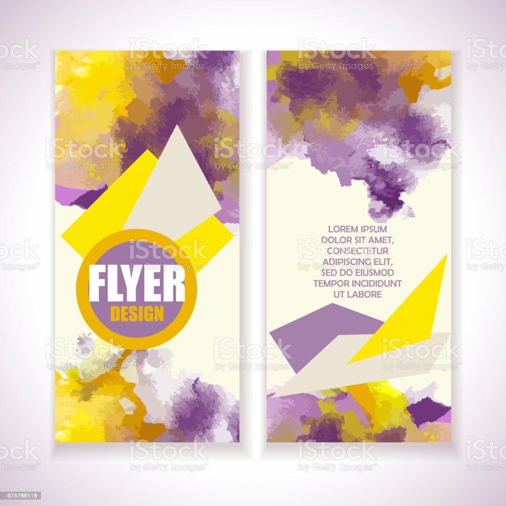 flyer with watercolor grange effect yellow and violet colors stock