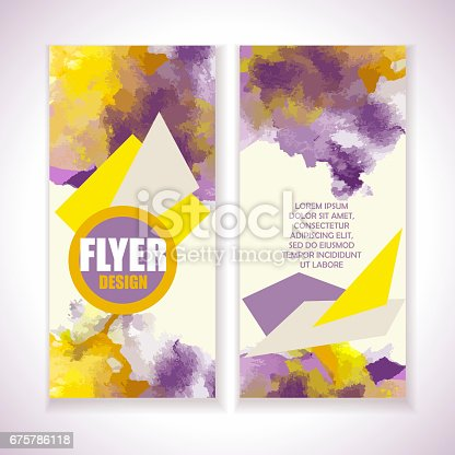 909924232 istock photo Flyer with watercolor grange effect. Yellow and violet colors. 675786118
