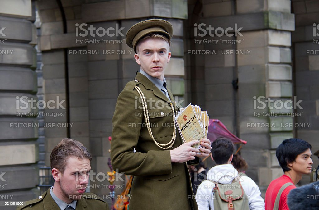 Flyering at the Edinburgh Festival Fringe stock photo