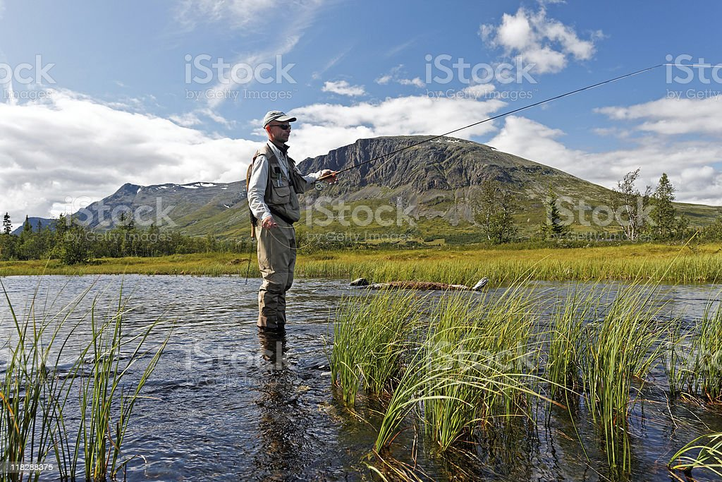Fly-fisher royalty-free stock photo