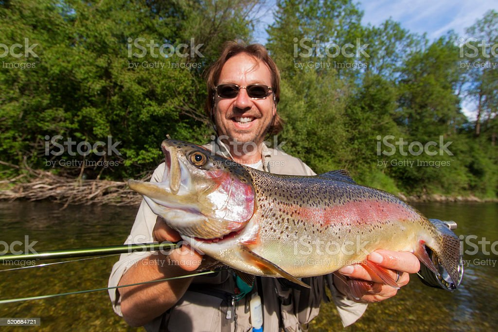 Flyfisherman holding a rainbow trout stock photo