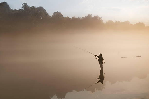 Flyfisherman in the Fog  freshwater fishing stock pictures, royalty-free photos & images