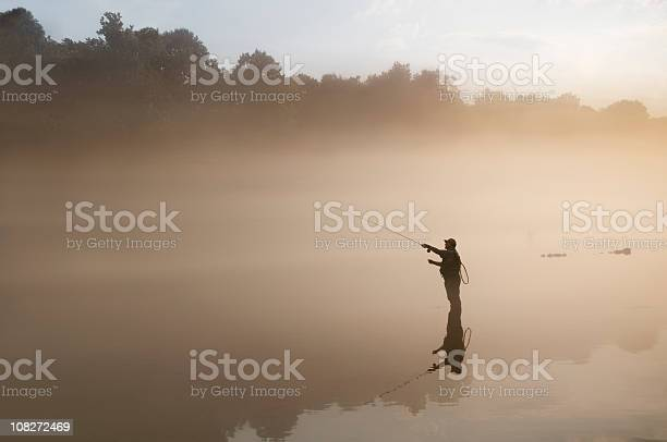 Flyfisherman In The Fog Stock Photo - Download Image Now