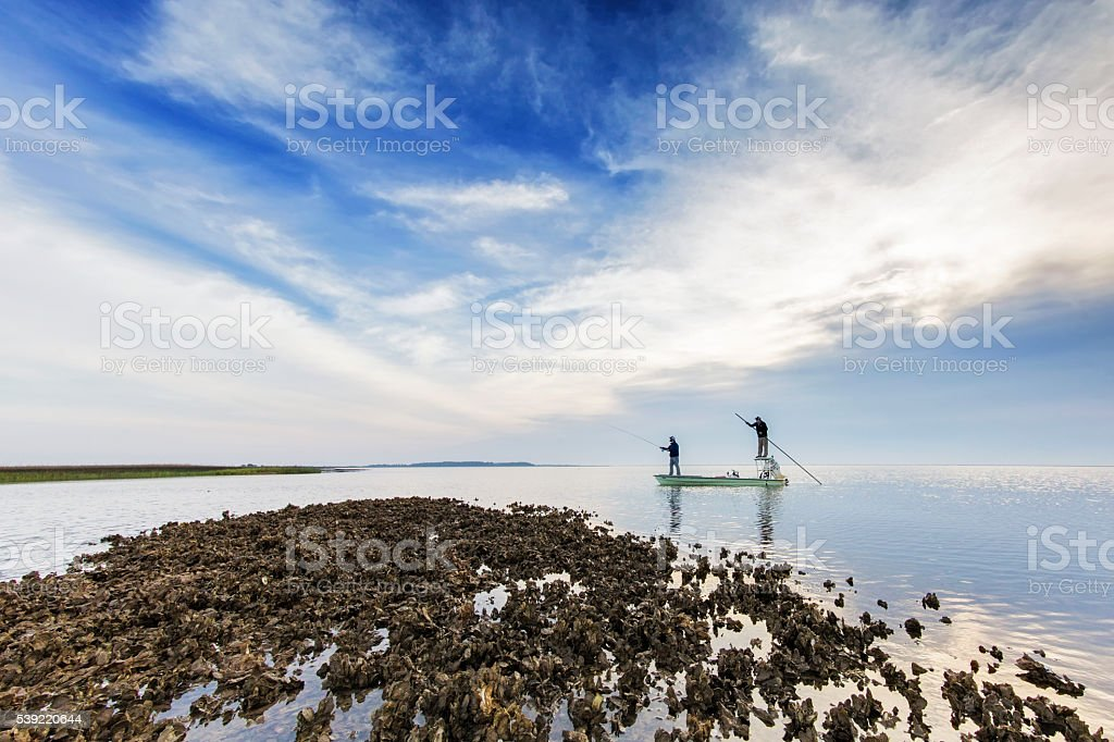Flyfishing at coast in South Carolina USA stock photo