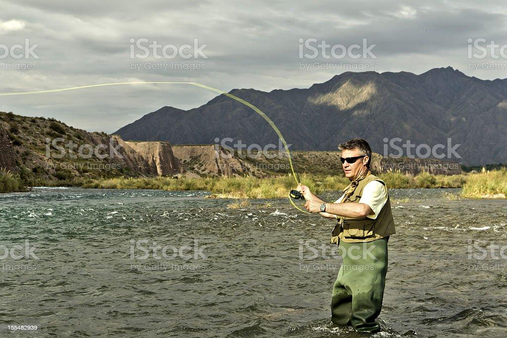 Fly-fishing royalty-free stock photo