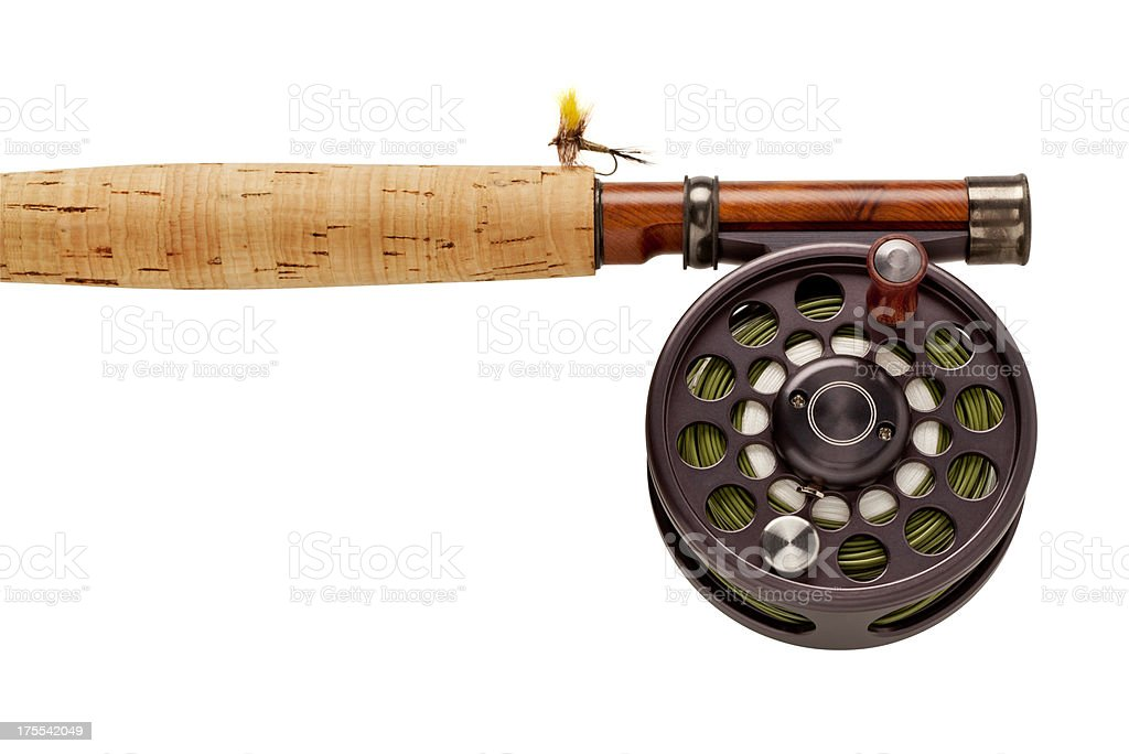 Fly-Fishing Rod & Reel on White Background. stock photo