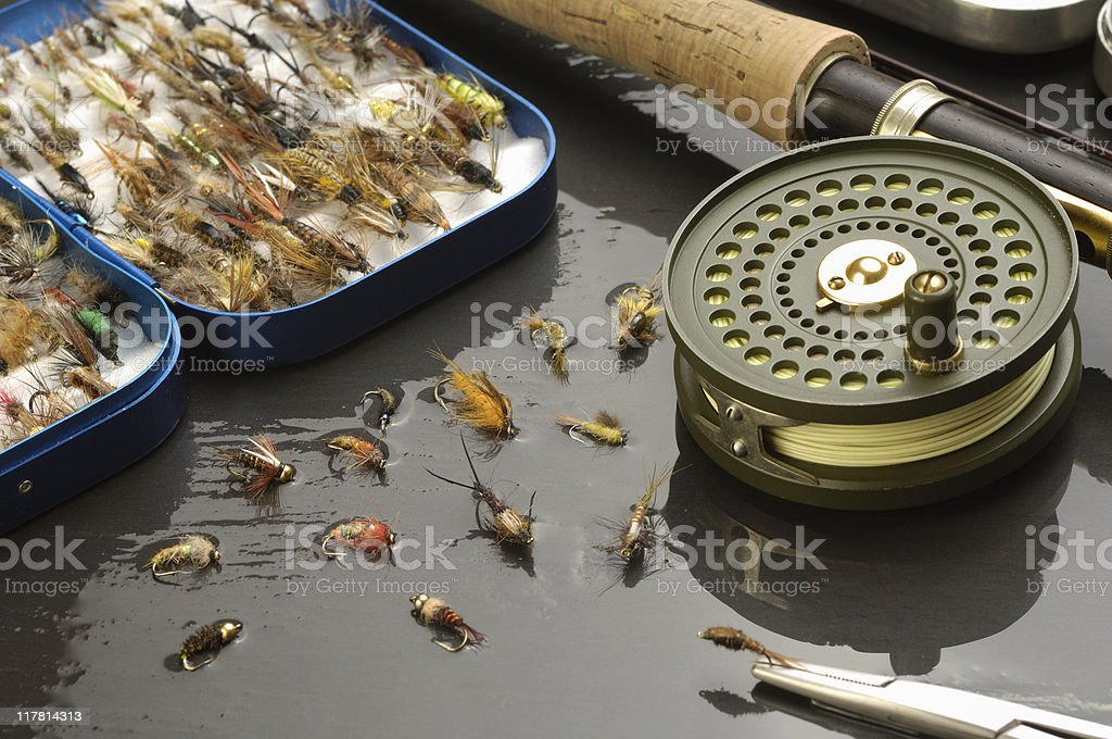 Fly-fishing tackle stock photo