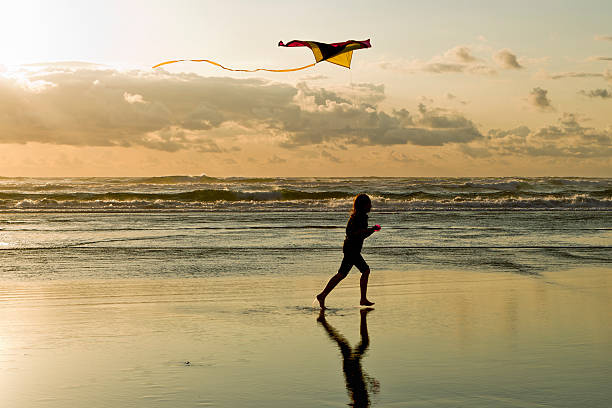 Flying a kite at the beach. stock photo