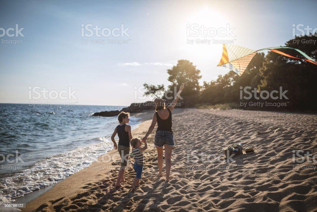 Drachen am Strand – Foto