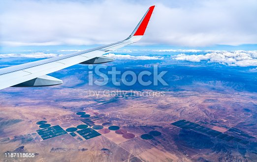 Flying above circular and rectangular fields in Arizona, United States