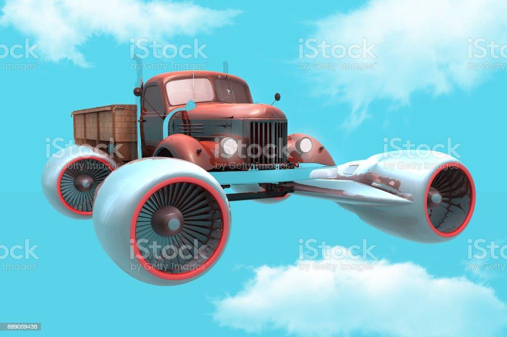 Flying Absurd Pickup stock photo