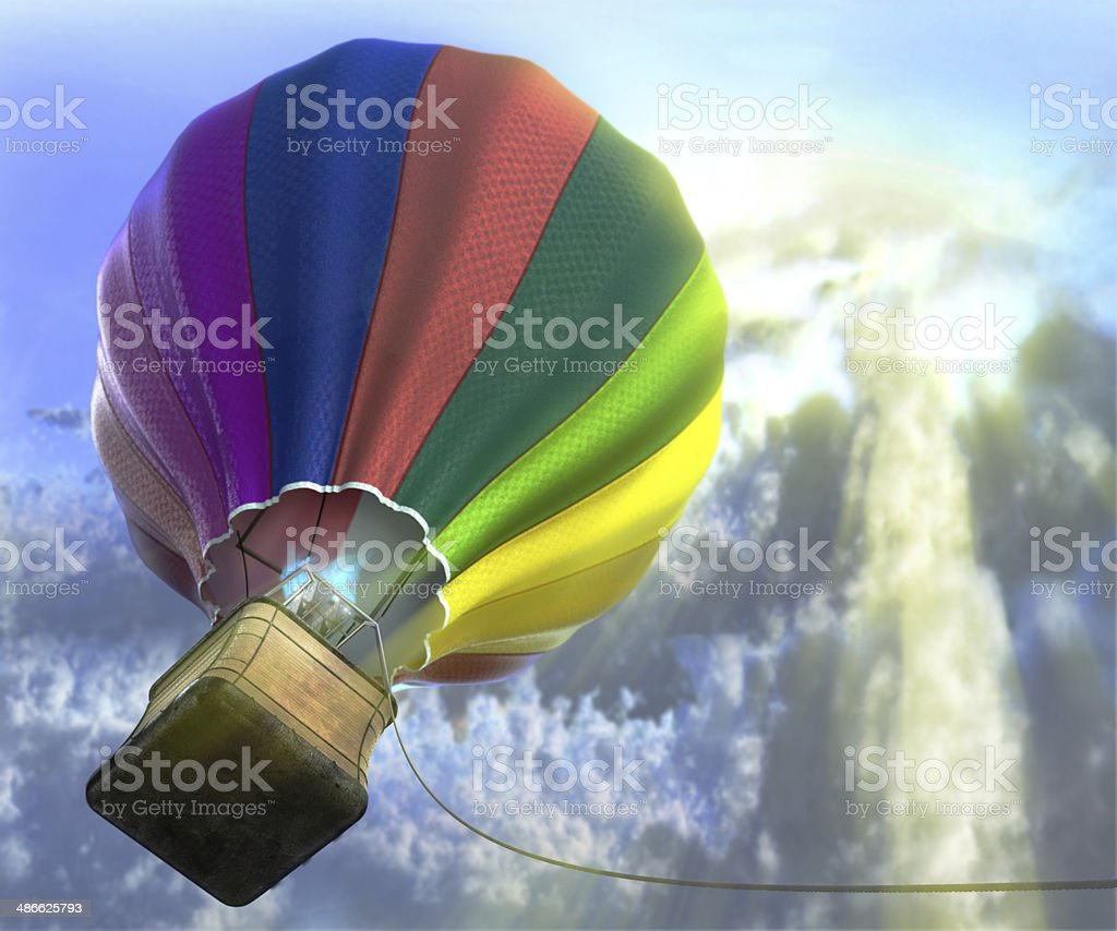 flying aerostat with basket stock photo