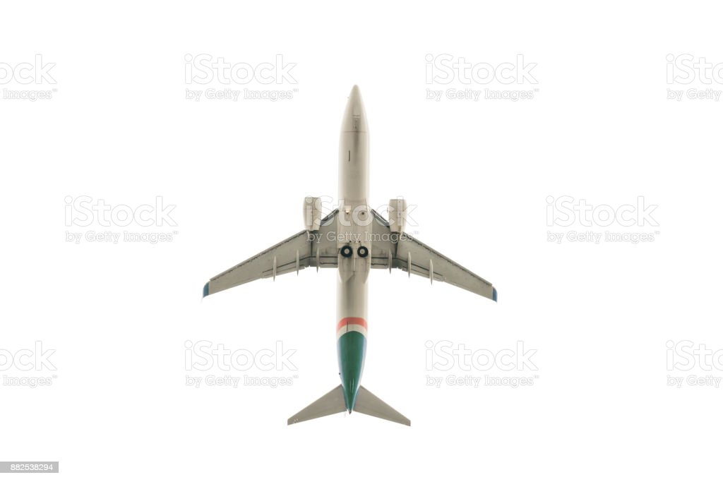Flying aircraft view from below stock photo