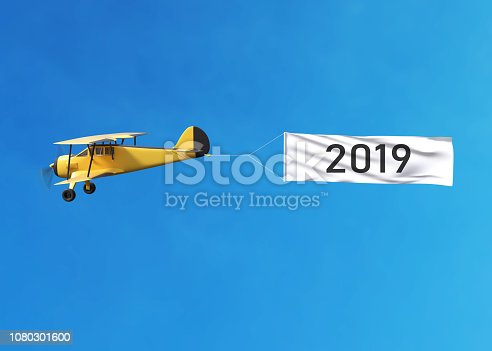 istock Flying airplane and Happy new year 2019 banner on blue sky 1080301600