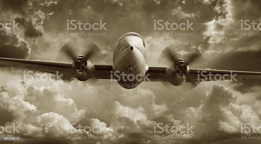 Aereo vola Curtiss Wright C-46 - foto stock