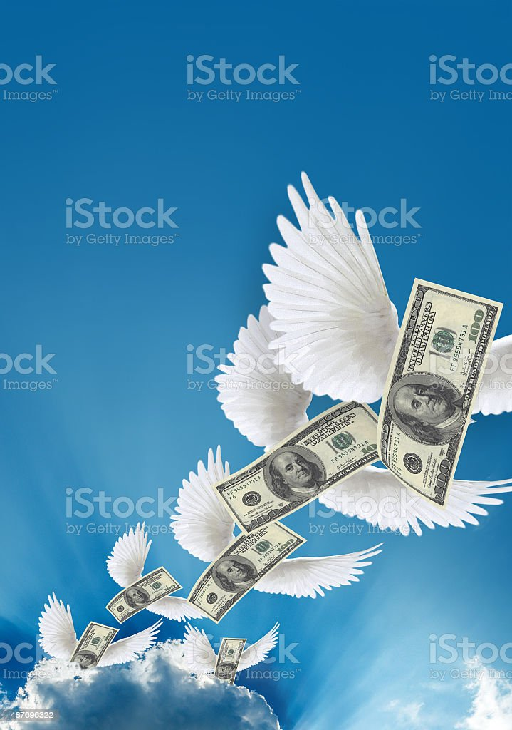 Flying American Currency stock photo