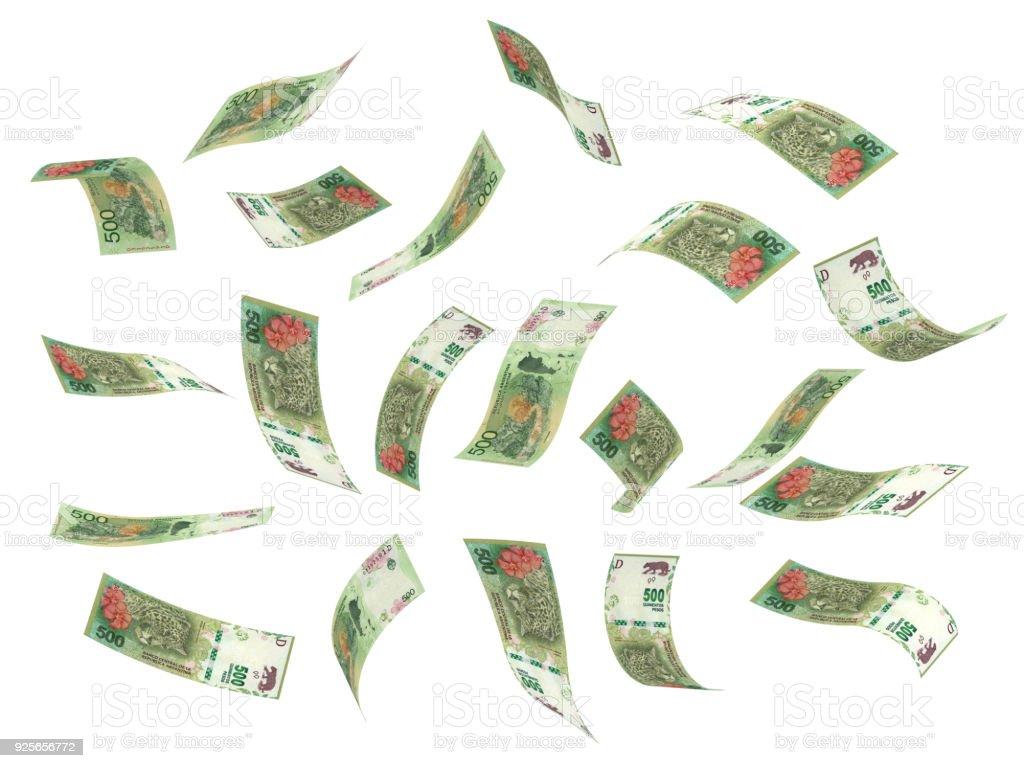 Flying Argentina Pesos stock photo