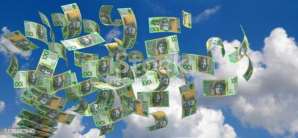 istock Flying Australian Dollar 1126682940