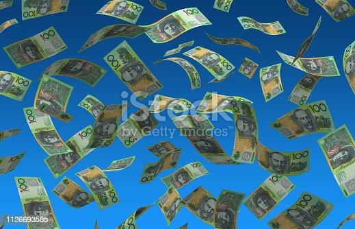 istock Flying Australian Dollar 1126693585