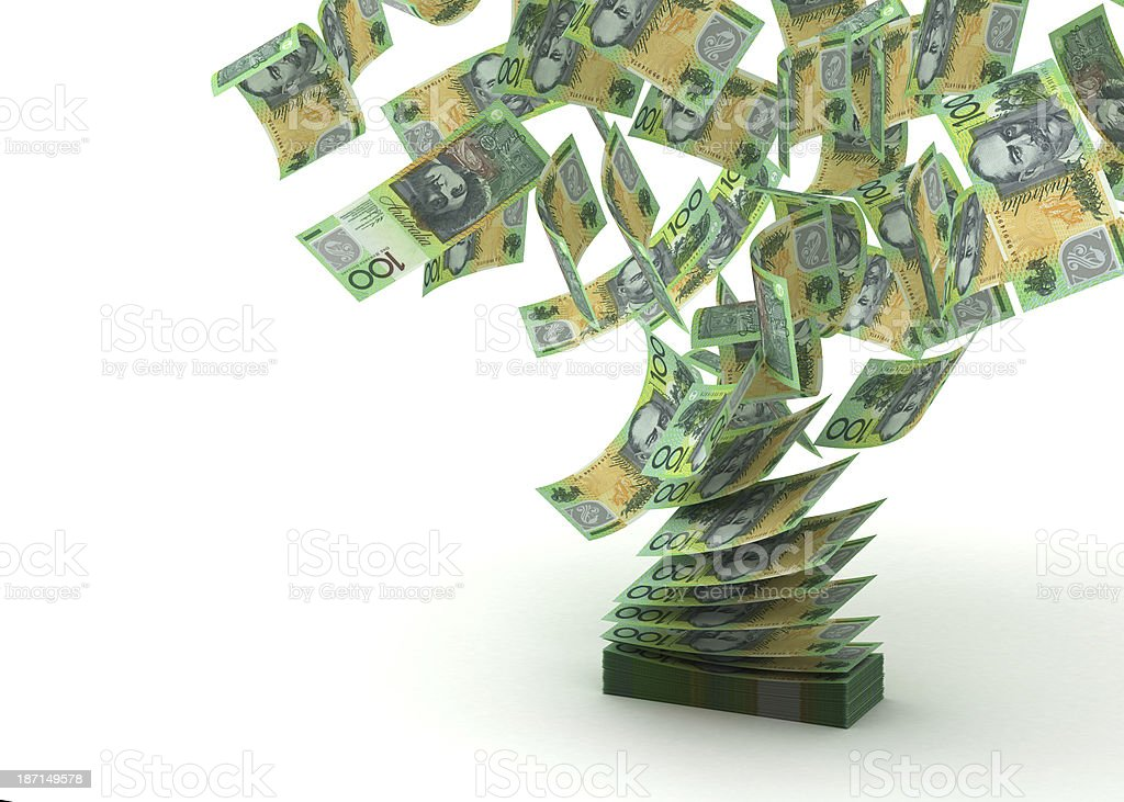 Flying Australian Dollar stock photo