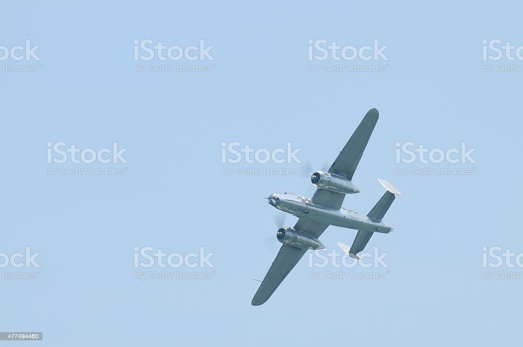 Flying B-25 Mitchell Bomber stock photo