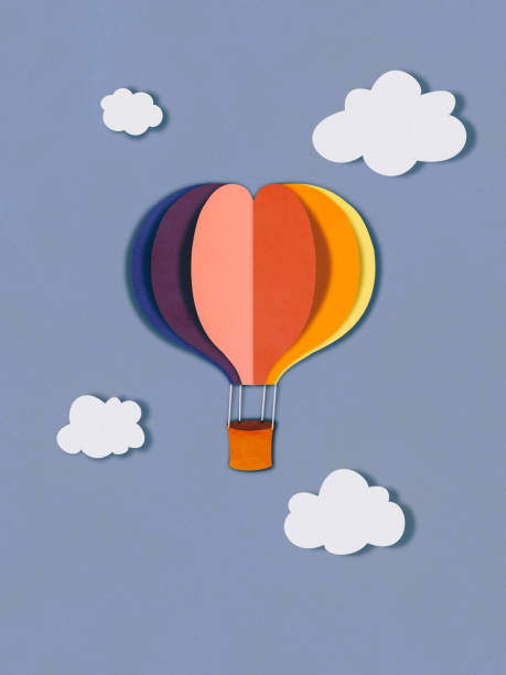 flying balloon in clouds, paper cutting style - fumetto creazione artistica foto e immagini stock