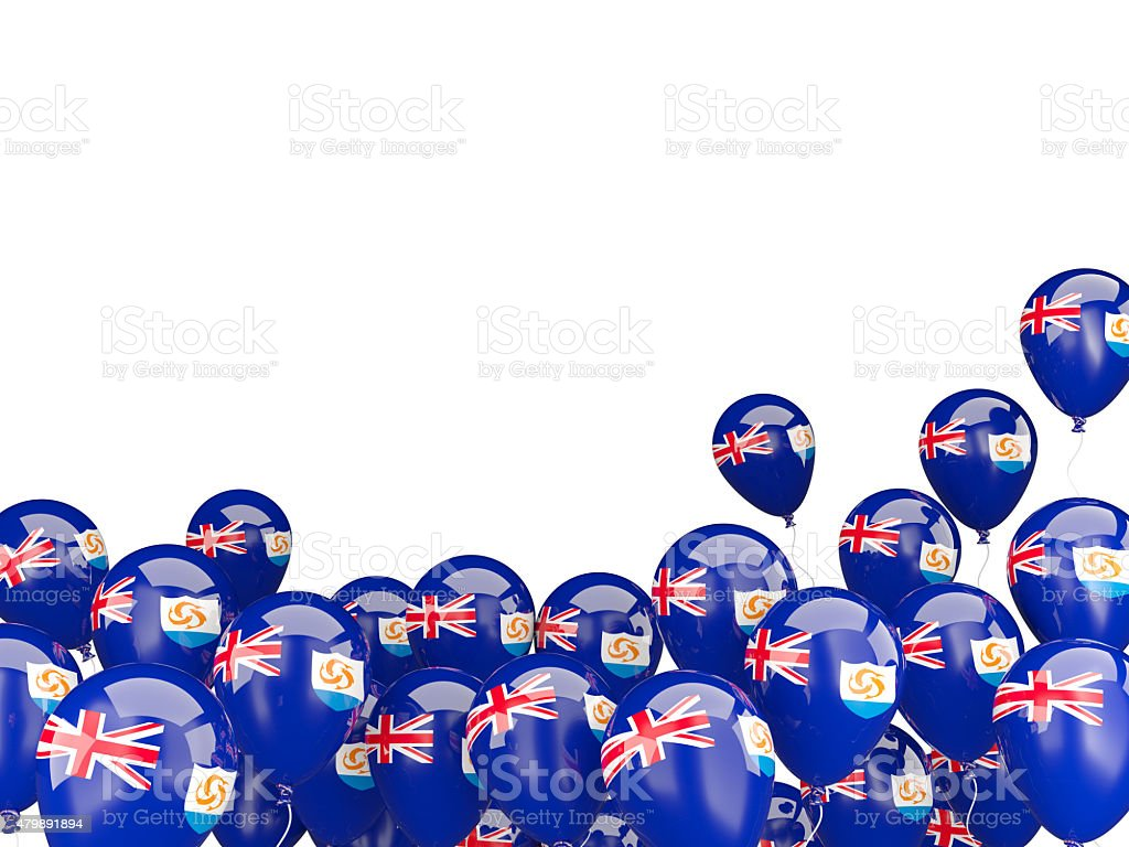 Flying balloons with flag of anguilla stock photo