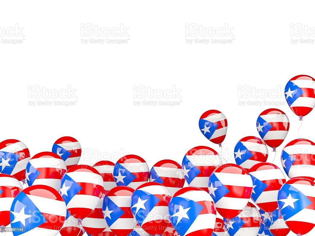 Volar globos con bandera de puerto rico - foto de stock