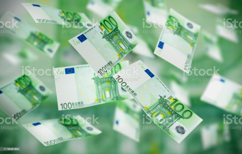 Flying Banknotes 100 Euro Large number of flying 100 Euro Banknotes in the air Abundance Stock Photo