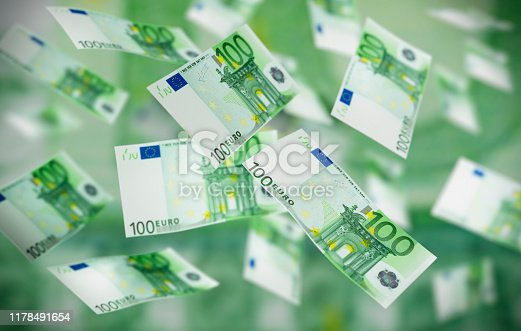 Large number of flying 100 Euro Banknotes in the air