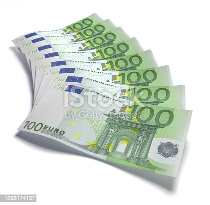 100 Euro banknotes stack formation on white background