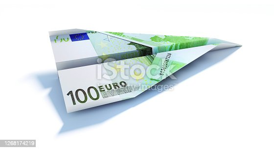 100 200 and 500 Euro banknotes heap on white background
