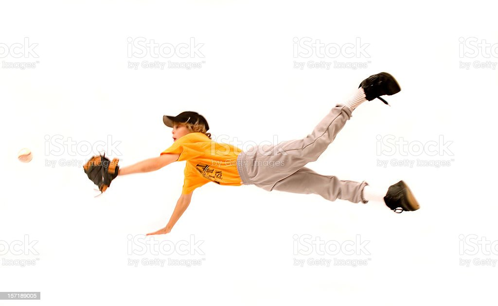 flying baseball catch stock photo