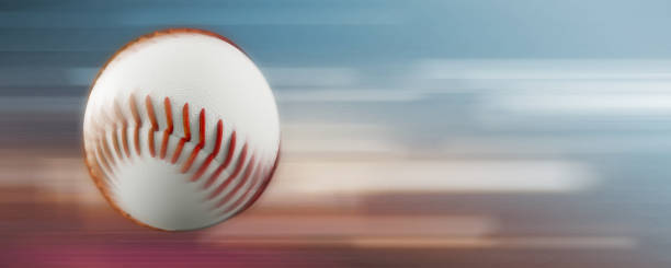 flying baseball with motion blur 3d render stock photo
