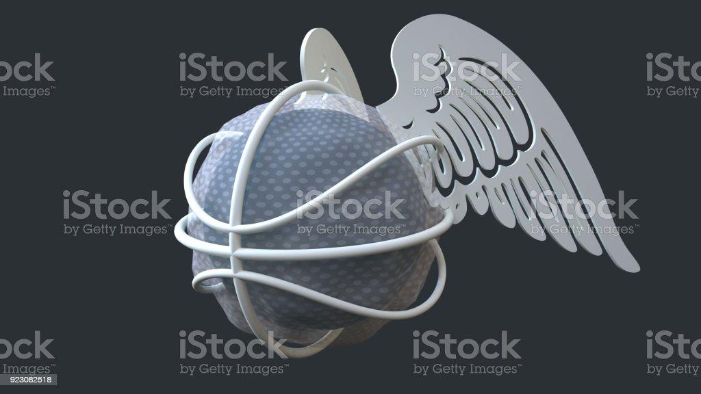 Flying basketball stock photo