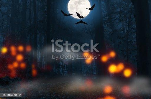 flying bats on halloween