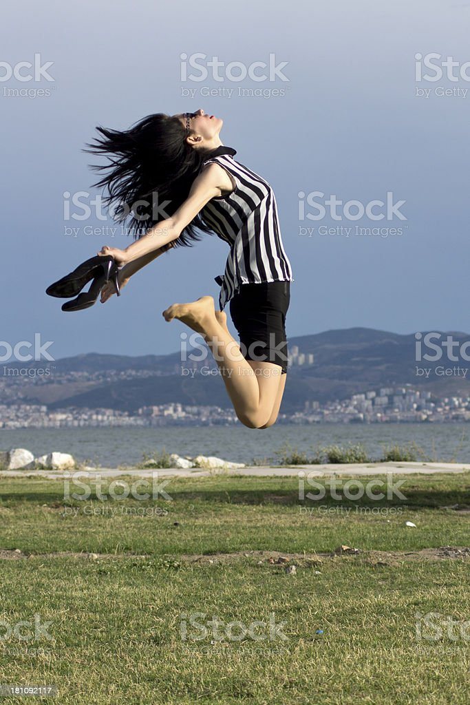 flying beautiful young businesswoman royalty-free stock photo