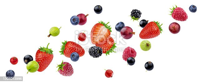 827935944 istock photo Flying berries isolated on white background with clipping path 1204013996