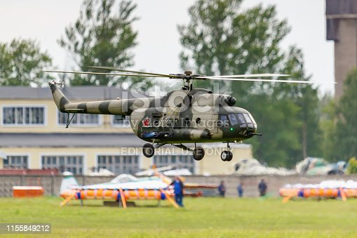 Balashikha, Moscow region, Russia - May 25, 2019: Flying big scale RC model of russian helicopter Mi-8 under control of RusJet team pilot Mikhail Mukhin. Aviation festival Sky Theory and Practice 2019