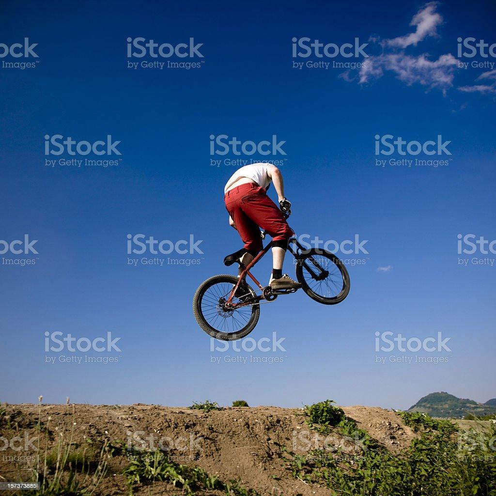 Flying Bike Dirt Jumping stock photo