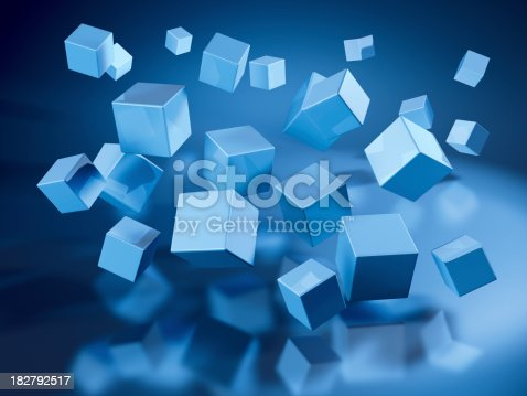 3D Render of many flying blue cubes. Very high resolution available! Use it for Your own composings!Related images: