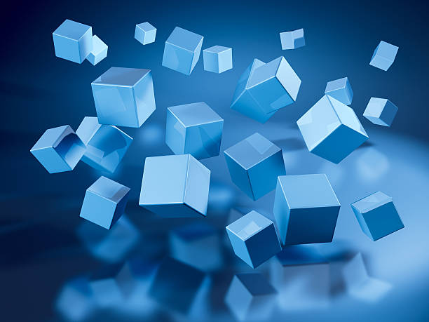Flying Blue Cubes 3D Render of many flying blue cubes. Very high resolution available! Use it for Your own composings!Related images: abstract 3d stock pictures, royalty-free photos & images